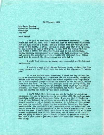 Letter from Linus Pauling to Jerry Donohue. Page 1. February 10, 1953