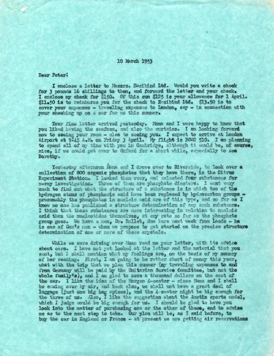 Letter from Linus Pauling to Peter Pauling. Page 1. March 10, 1953