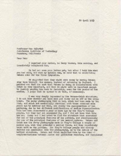 Letter from Linus Pauling to Max Delbrück. Page 1. April 20, 1953