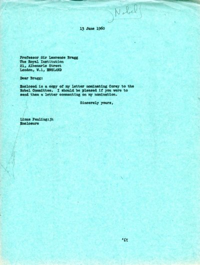 Letter from Linus Pauling to W.L. Bragg. Page 1. June 13, 1960