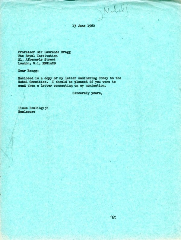 Letter from Linus Pauling to W.L. Bragg.Page 1. June 13, 1960