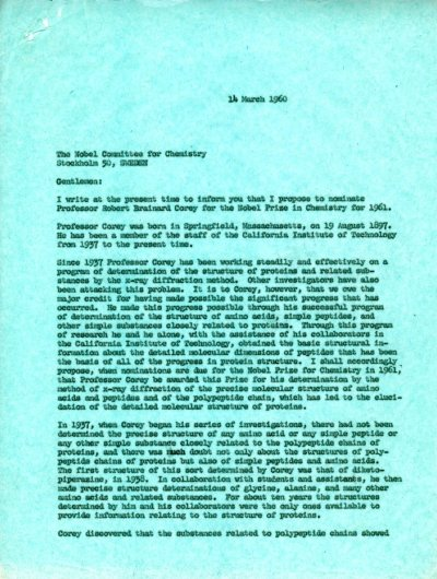 Letter from Linus Pauling to the Nobel Committee for Chemistry. Page 1. March 14, 1960
