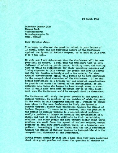 Letter from Linus Pauling to Gunnar Jahn. Page 1. March 23, 1961