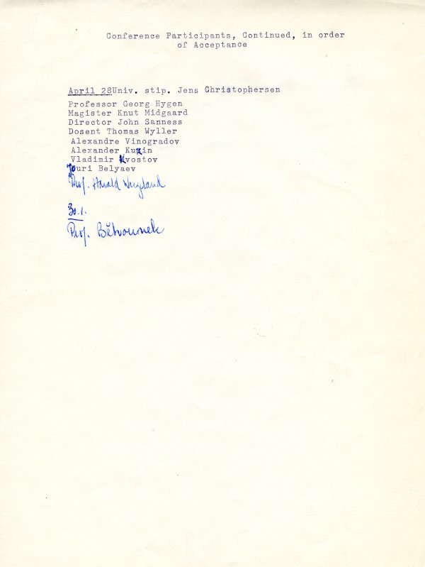 Preliminary list of participants, Conference Against the Spread of Nuclear Weapons, to be held in Oslo, Norway. Page 3. April 28, 1961