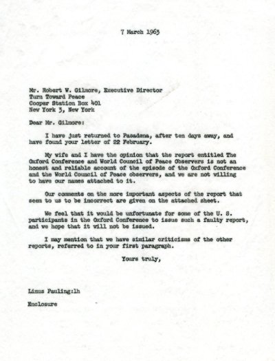 Letter from Linus Pauling to Robert W. Gilmore. Page 1. March 7, 1963