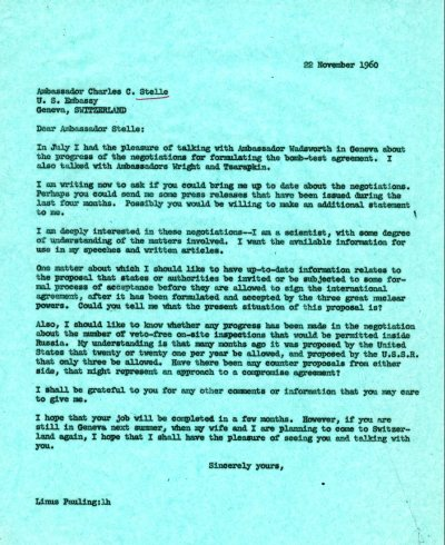 Letter from Linus Pauling to Charles C. Stelle. Page 1. November 22, 1960