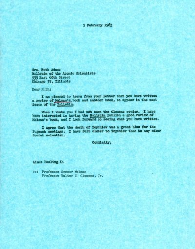 Letter from Linus Pauling to Ruth Adams. Page 1. February 5, 1963