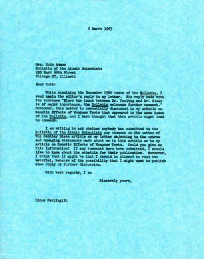 Letter from Linus Pauling to Ruth Adams. Page 1. March 8, 1963