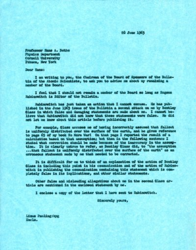 Letter from Linus Pauling to Hans Bethe.Page 1. June 28, 1963