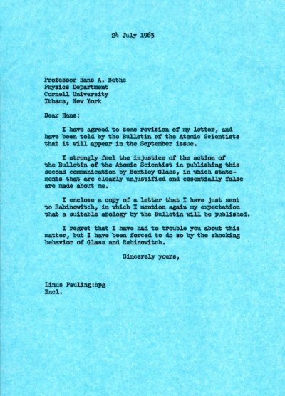 Letter from Linus Pauling to Hans Bethe. Page 1. July 24, 1963