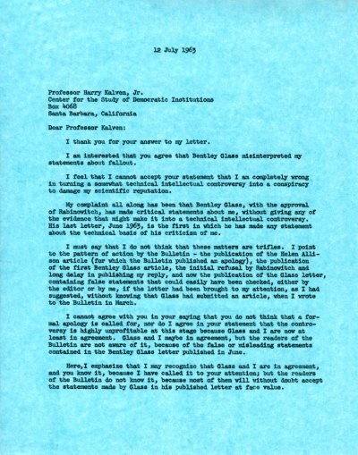 Letter from Linus Pauling to Harry Kalven, Jr. Page 1. July 12, 1963