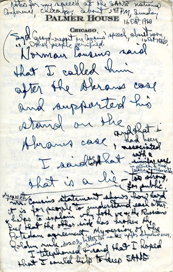 Notes re: a disagreement between Linus Pauling and Norman Cousins over Cousins' stand on the Henry Abrams case. Page 1. October 16, 1960