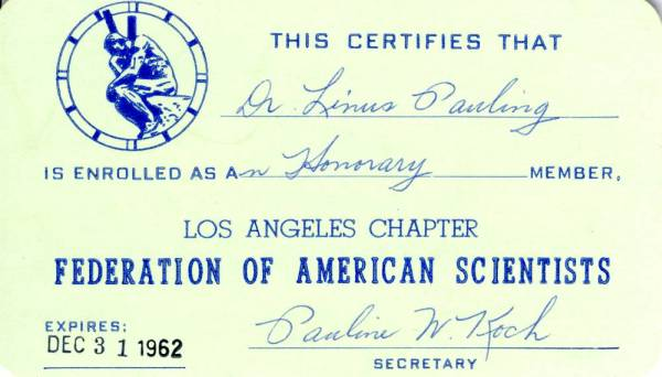 Honorary Membership Card, Federation of American Scientists -- Los Angeles Chapter.