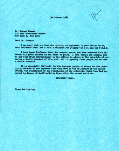 Letter from Linus Pauling to Norman Thomas. Page 1. October 30, 1963