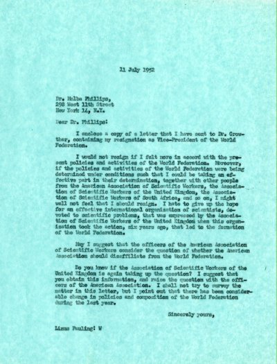 Letter from Linus Pauling to Melba Phillips. Page 1. July 11, 1952