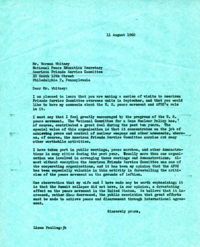 Letter from Linus Pauling to Norman Whitney. Page 1. August 11, 1960