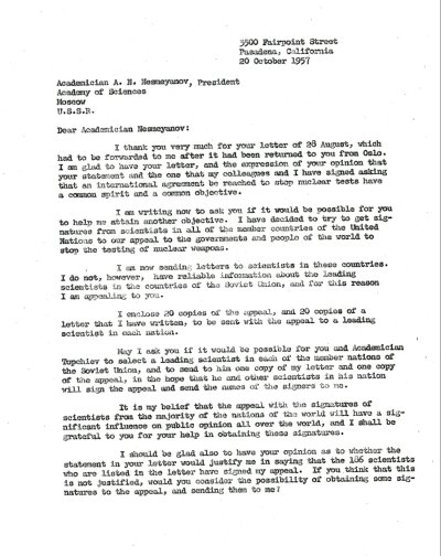 Letter from Linus Pauling to A.N. Nesmeyanov. Page 1. October 20, 1957
