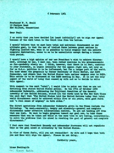 Letter from Linus Pauling to P. P. Ewald. Page 1. February 6, 1961