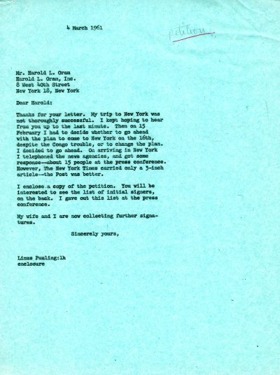 Letter from Linus Pauling to Harold Oram. Page 1. March 4, 1961