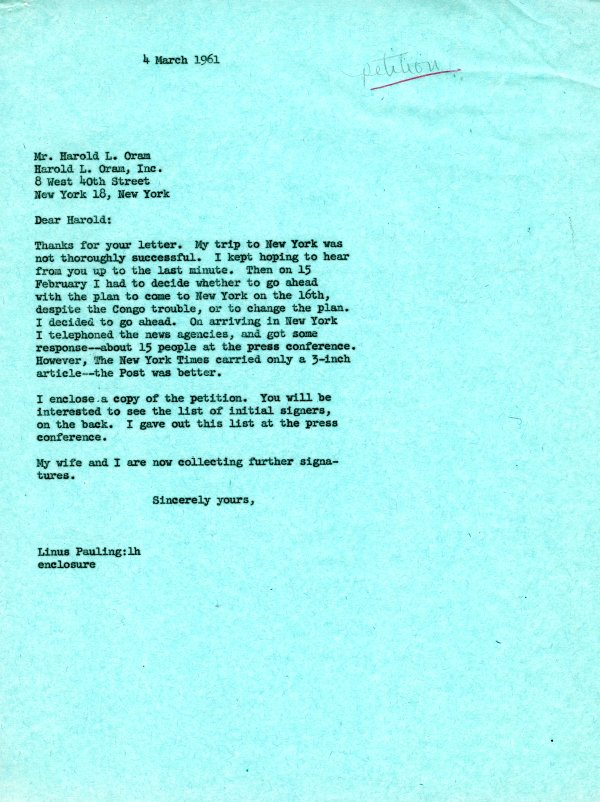 Letter from Linus Pauling to Harold Oram.Page 1. March 4, 1961
