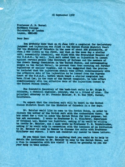 Letter from Linus Pauling to J. D. Bernal. Page 1. September 28, 1962