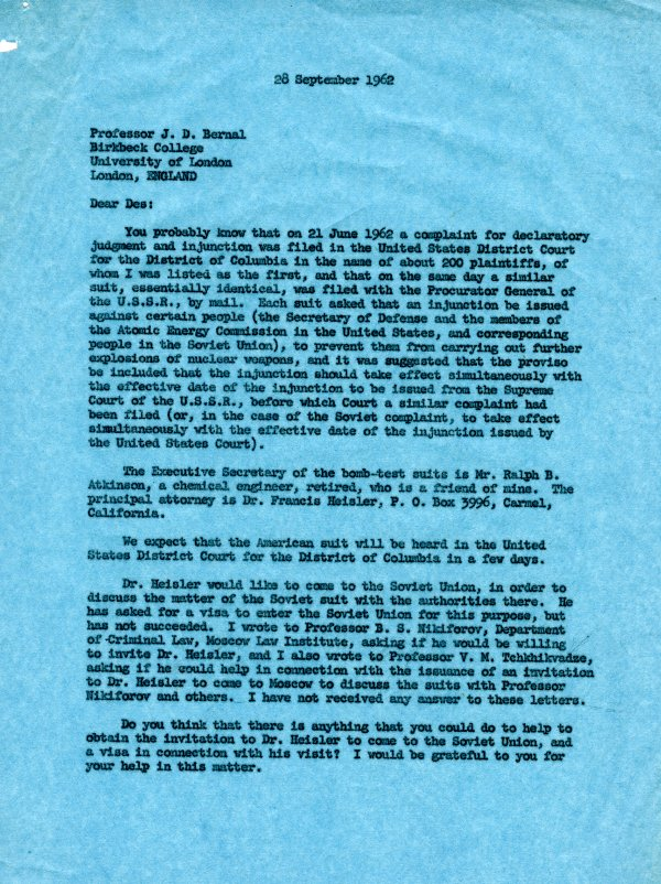 Letter from Linus Pauling to J. D. Bernal.Page 1. September 28, 1962