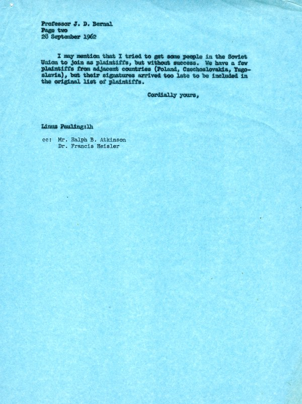 Letter from Linus Pauling to J. D. Bernal.Page 2. September 28, 1962