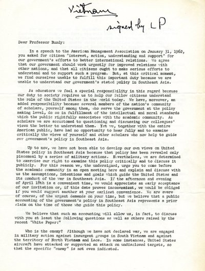 Letter from Linus Pauling to McGeorge Bundy.Page 1. June 7, 1963