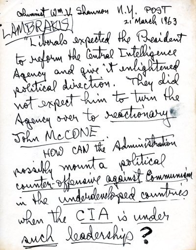Notes re: Reform of the Central Intelligence Agency.Page 1. March 21, 1963