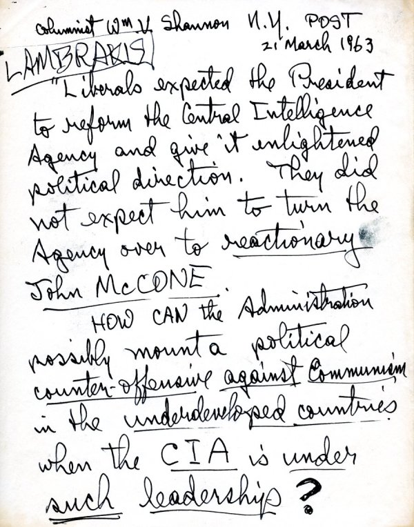 Notes re: Reform of the Central Intelligence Agency. Page 1. March 21, 1963