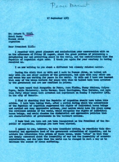 Letter from Linus Pauling to Arturo U. IlliaPage 1. September 17, 1963