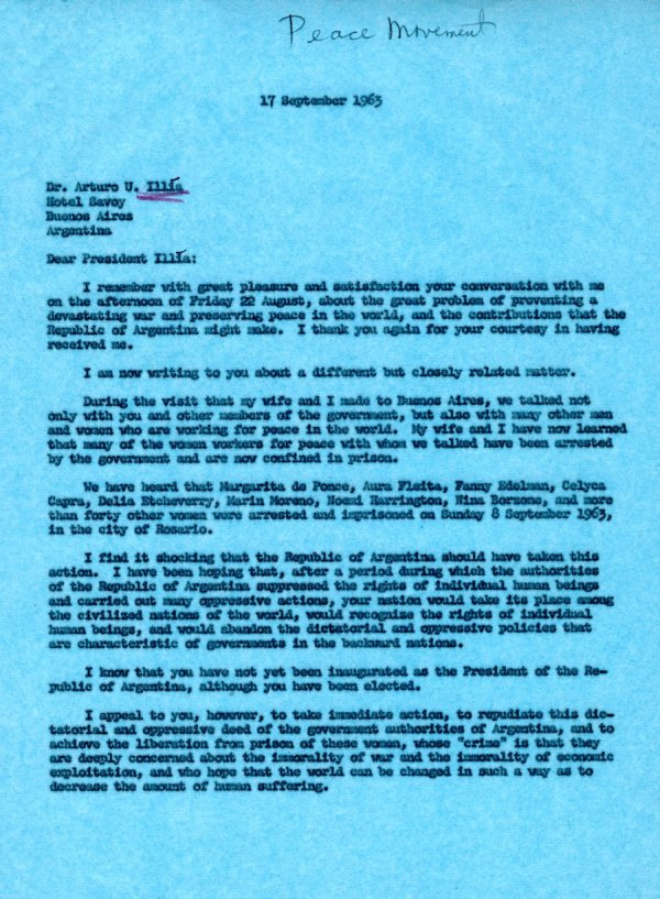 Letter from Linus Pauling to Arturo U. Illia Page 1. September 17, 1963
