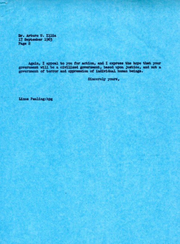 Letter from Linus Pauling to Arturo U. Illia Page 2. September 17, 1963