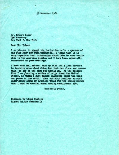 Letter from Linus Pauling to Robert Taber.Page 1. December 27, 1960