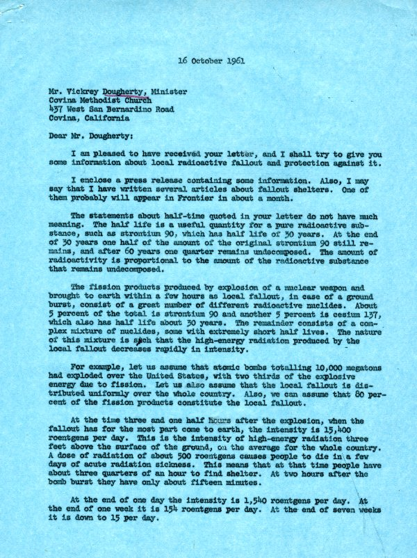 Letter from Linus Pauling to Vickrey Dougherty. Page 1. October 16, 1961