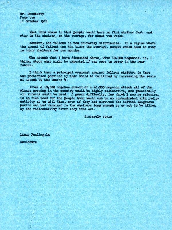 Letter from Linus Pauling to Vickrey Dougherty. Page 2. October 16, 1961