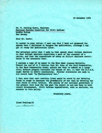 Letter from Linus Pauling to Corning Knote.Page 1. December 20, 1960