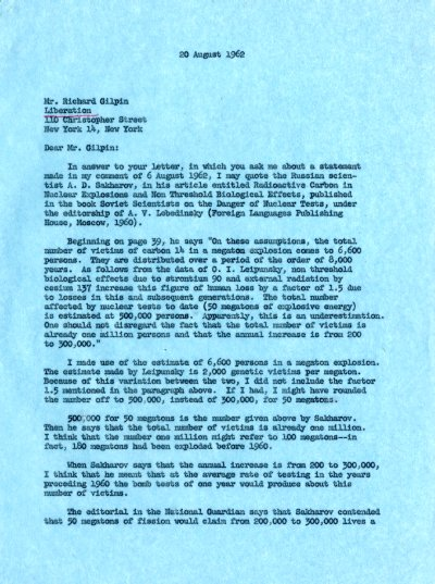 Letter from Linus Pauling to Richard Gilpin. Page 1. September 20, 1962