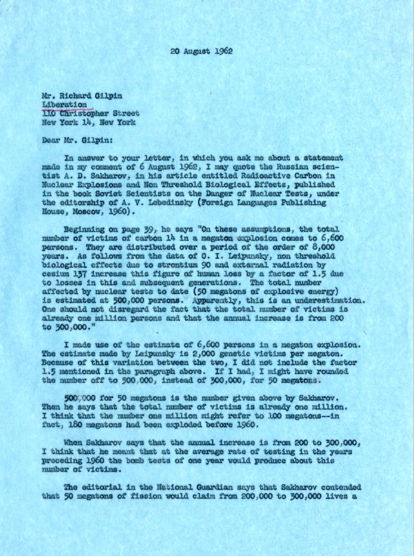Letter from Linus Pauling to Richard Gilpin.Page 1. September 20, 1962