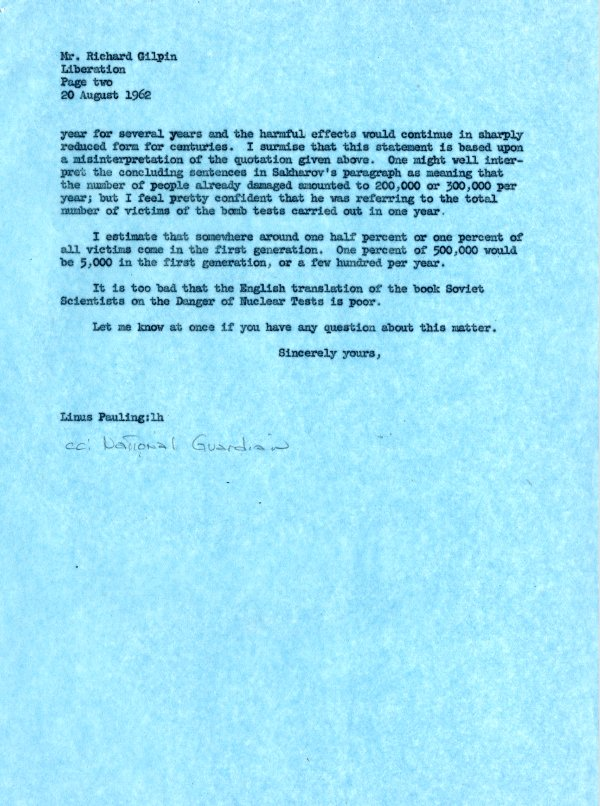Letter from Linus Pauling to Richard Gilpin.Page 2. September 20, 1962