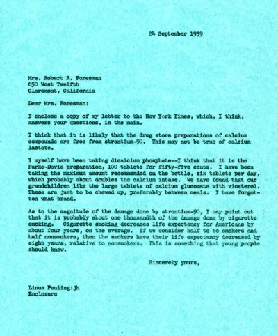 Letter from Linus Pauling to Mrs. Robert R. Foresman. Page 1. September 24, 1959