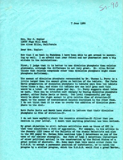 Letter from Linus Pauling to Mrs. Roy C. Kepler. Page 1. June 7, 1960