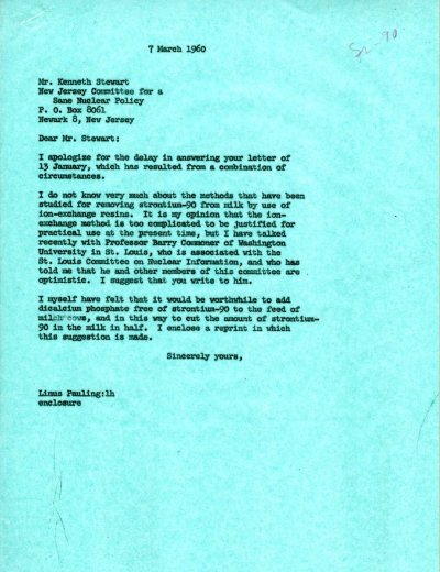 Letter from Linus Pauling to Kenneth Stewart. Page 1. March 7, 1960