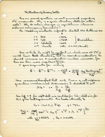 Lecture Notes: The Structure of Ionic CrystalsPage 15. 1931