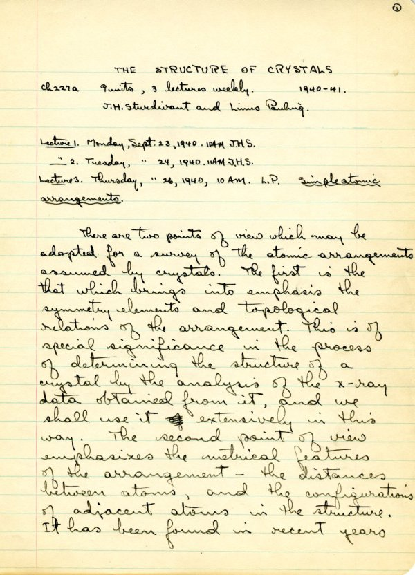 """Lecture notes for the class """"The Structure of Crystals,"""" Ch 227a, California Institute of Technology.Page 1. September 23 - November 12, 1940"""