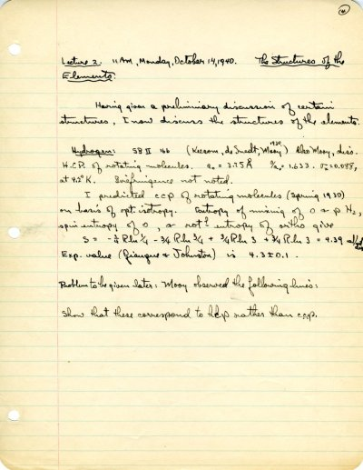 "Lecture notes for the class ""The Structure of Crystals,"" Ch 227a, California Institute of Technology. Page 4. September 23 - November 12, 1940"