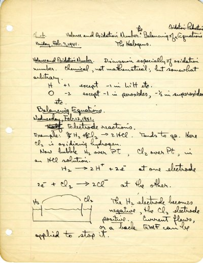 "Lecture notes for the class ""Freshman Chemistry,"" Ch 1a, Ch 1b, Ch 1c, California Institute of Technology. Part 1 - Page 5. December 8, 1940 - January 23, 1942"