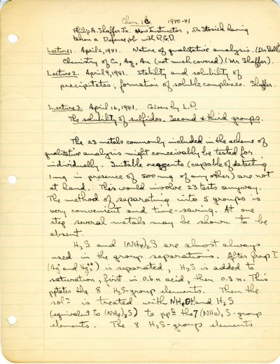 "Lecture notes for the class ""Freshman Chemistry,"" Ch 1a, Ch 1b, Ch 1c, California Institute of Technology. Part 2 - Page 1. December 8, 1940 - January 23, 1942"