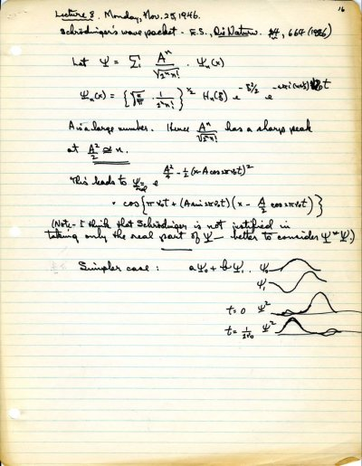 """Lecture Notes: """"Schrodinger's Wave Packet.""""Page 16. November 25, 1946"""
