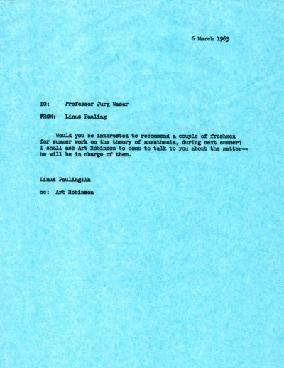 Letter from Linus pauling to Jürg Waser. Page 1. March 6, 1963
